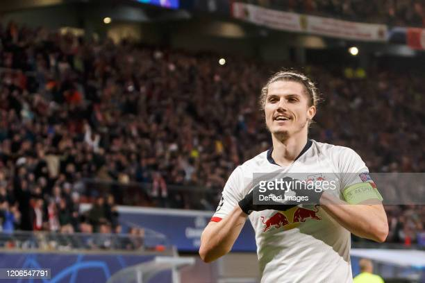Marcel Sabitzer of RB Leipzig is celebrating his first goal during the UEFA Champions League round of 16 second leg match between RB Leipzig and...