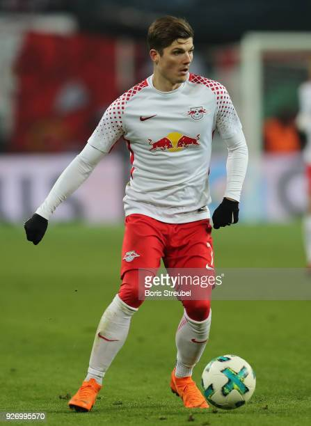 Marcel Sabitzer of RB Leipzig runs with the ball during the Bundesliga match between RB Leipzig and Borussia Dortmund at Red Bull Arena on March 3...
