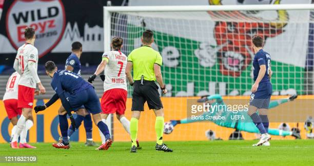 Marcel Sabitzer of RB Leipzig scores his team's first goal past goalkeeper Hugo Lloris of Tottenham Hotspur during the UEFA Champions League round of...