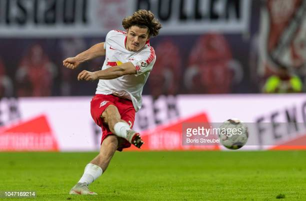 Marcel Sabitzer of RB Leipzig scores his team's fives goal during the Bundesliga match between RB Leipzig and 1 FC Nuernberg at Red Bull Arena on...