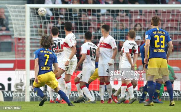 Marcel Sabitzer of RB Leipzig scores his team's second goal during the Bundesliga match between VfB Stuttgart and RB Leipzig at MercedesBenz Arena on...