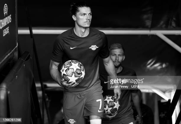 Marcel Sabitzer of RB Leipzig walks through the tunnel for the warm up prior to the UEFA Champions League Quarter Final match between RB Leipzig and...