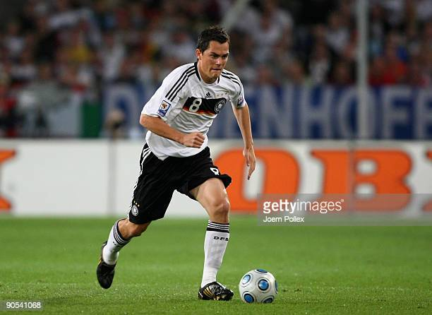 Marcel Schaefer of Germany plays the ball during the FIFA 2010 World Cup Group 4 Qualifier match between Germany and Azerbaijan at the AWD Arena on...
