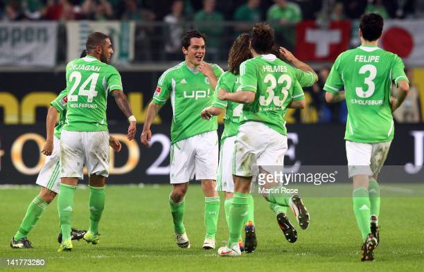 Marcel Schaefer of Wolfsburg celebrates after he scores his team's 2nd goal during the Bundesliga match between VfL Wolfsburg and Hamburger SV at the...