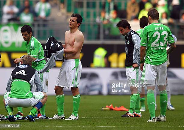 Marcel Schaefer of Wolfsburg looks dejected after the Bundesliga match between VfL Wolfsburg and FC Augsburg at the Volkswagen Arena on April 14 2012...
