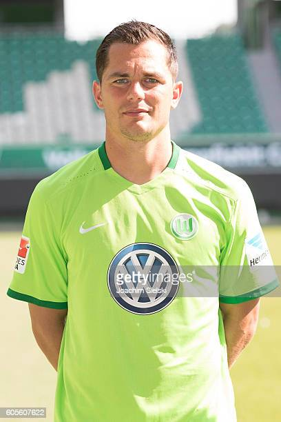 Marcel Schaefer poses during the official team presentation of VfL Wolfsburg at Volkswagen Arena on September 14 2016 in Wolfsburg Germany
