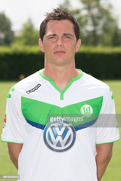 Marcel Schaefer poses during the team presentation of VfL Wolfsburg at Volkswagen Arena on July 16 2015 in Wolfsburg Germany