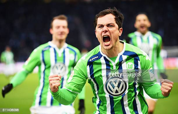 Marcel Schäfer of Wolfsburg celebrates scoring his goal during the Bundesliga match between Hertha BSC and VfL Wolfsburg at Olympiastadion on...