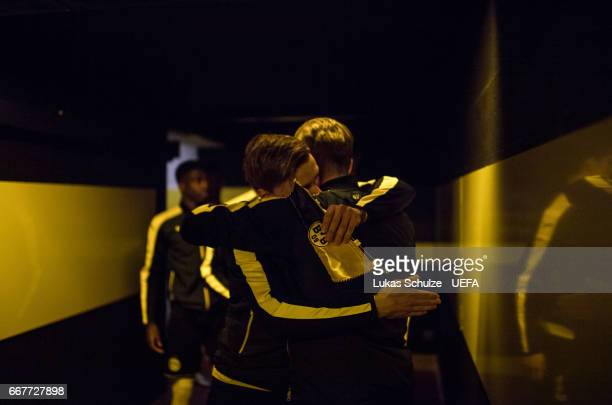 Marcel Schmelzer and Lukas Piszczek of Dortmund are focused in the player tunnel prior to the UEFA Champions League Quarter Final first leg match...