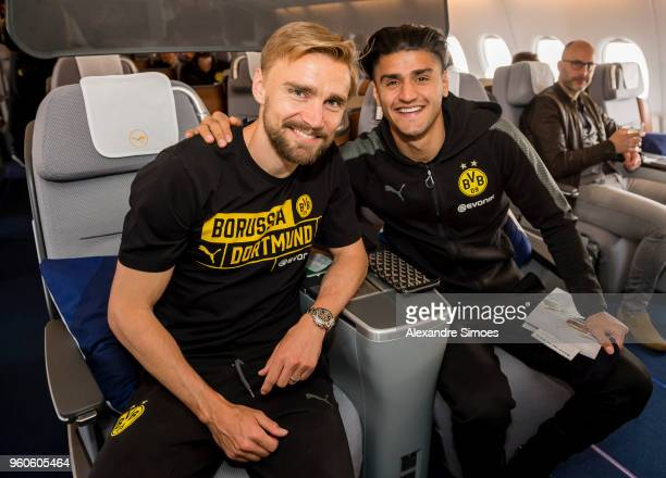 Marcel Schmelzer and Mahmoud Dahoud of Borussia Dortmund during their flight to the United States on May 20 2018 in Dortmund Germany