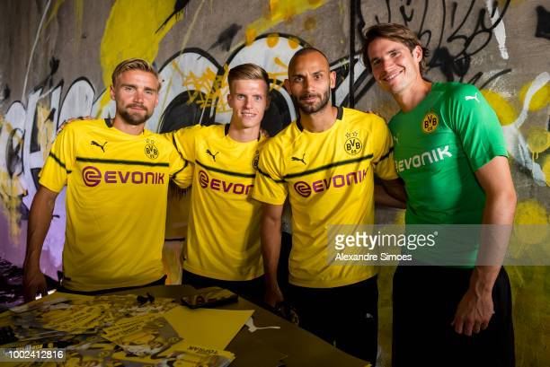Marcel Schmelzer Dzenis Burnic Oehme Toprak and Marwin Hitz attend the unveiling of the new Champions League shirt presented by BVB and Puma during...