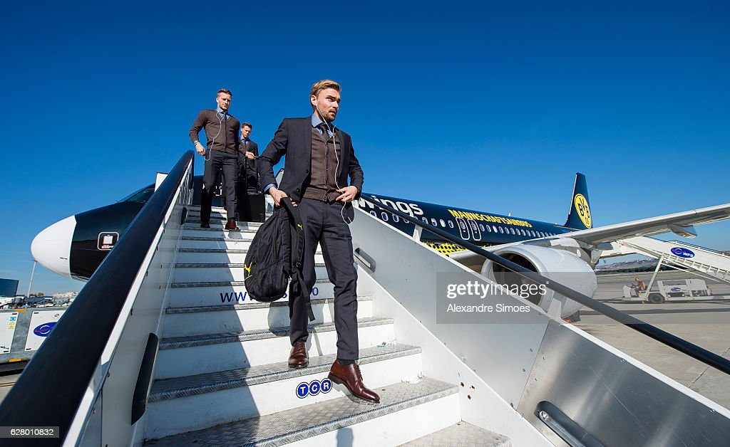 Marcel Schmelzer of Borussia Dortmund arrival in Madrid Airport prior to the UEFA Champions League match between Real Madrid and Borussia Dortmund at Estadio Santiago Bernabeu on December 6, 2016 in Madrid, Spain.
