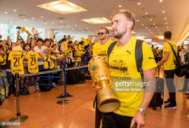 Marcel Schmelzer of Borussia Dortmund arrived at the airport on July 14 2017 in Tokyo Japan