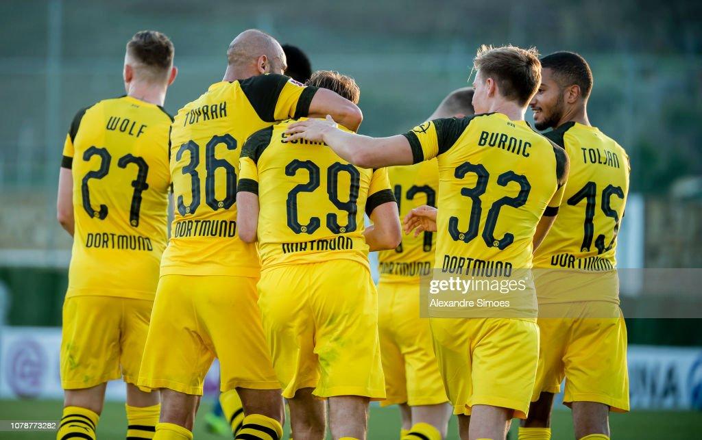 Marcel Schmelzer of Borussia Dortmund celebrates scoring the ...