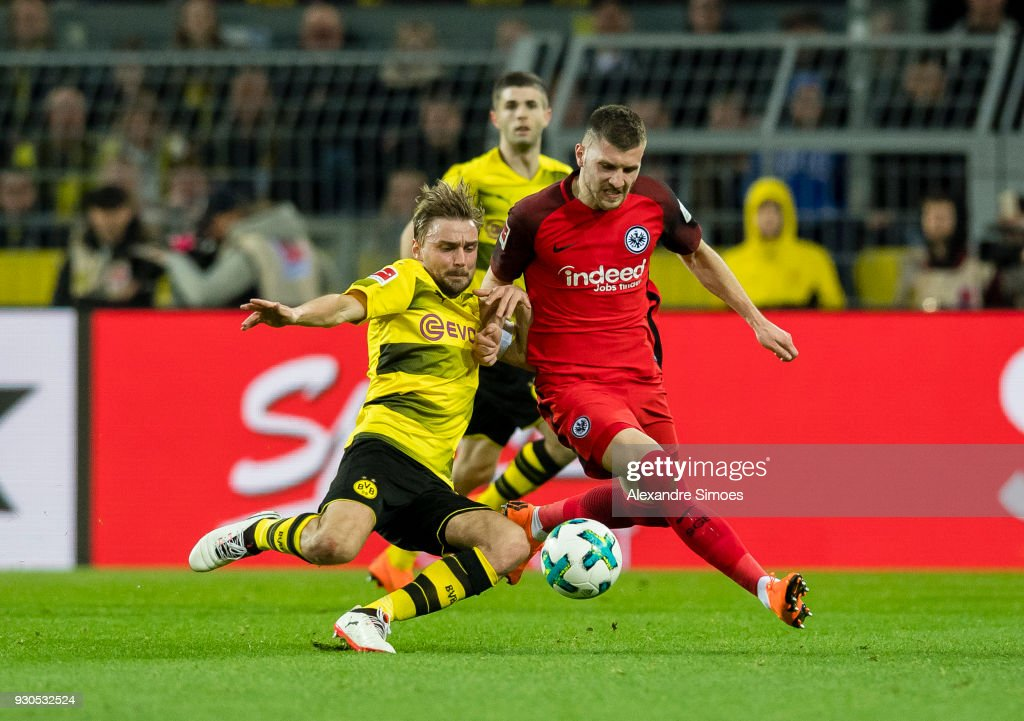 Marcel Schmelzer of Borussia Dortmund in action during the Bundesliga match between Borussia Dortmund and Eintracht Frankfurt at the Signal Iduna Park on March 11, 2018 in Dortmund, Germany.