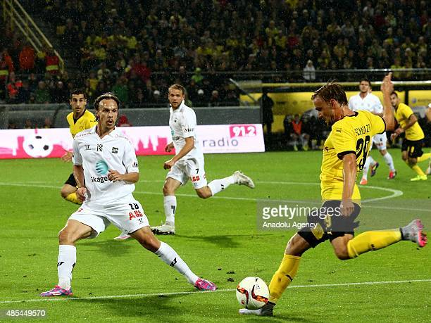 Marcel Schmelzer of Borussia Dortmund in action during the UEFA Europa League play off soccer match between Borussia Dortmund vs Odds BK Skien at...