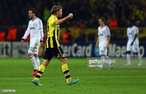 Marcel Schmelzer of Dortmund celebrates after the UEFA Champions League group D match between Borussia Dortmund and Real Madrid at Signal Iduna...