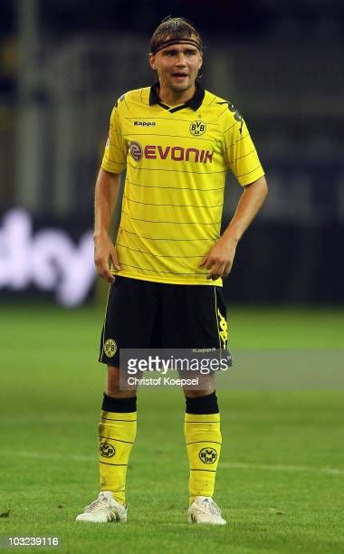 Marcel Schmelzer of Dortmund looks on during the pre-season friendly match between Borussia Dortmund and Manchester City at Signal Iduna Park on...
