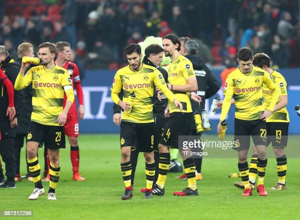 Marcel Schmelzer of Dortmund Nuri Sahin of Dortmund Neven Subotic of Dortmund Christian Pulisic of Dortmund and Raphael Guerreiro of Dortmund look...