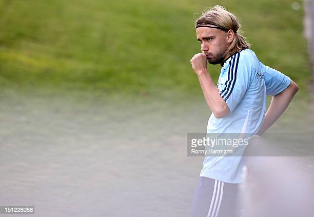 Marcel Schmelzer of Germany reacts during a training session on September 04, 2012 in Barsinghausen, Germany, three days before their FIFA World Cup...