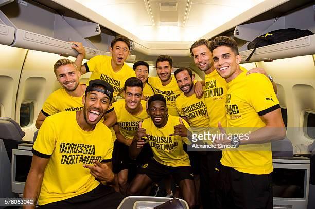 Marcel Schmelzer, Pierre-Emerick Aubameyang, Joo Ho Park, Nuri Sahin, goalkeeper Roman Weidenfeller, Mikel Merino, Marc Bartra , Gonzalo Castro of...