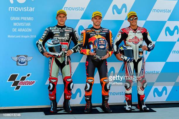 Marcel Schrotter of Germany and Dynavolt Intact GP Kalex Brad Binder of Republic of South Africa and Red Bull KTM Ajo KTM and Jorge Navarro of Spain...