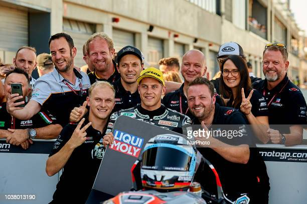 Marcel Schrotter of Germany and Dynavolt Intact GP Kalex during qualifying for the Gran Premio Movistar de Aragon of world championship of MotoGP at...
