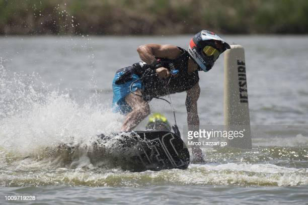 Marcel Schrotter of Germany and Dynavolt Intact GP makes JetSurf during the preevent at Auspersky Lake during the MotoGp of Czech Republic Previews...