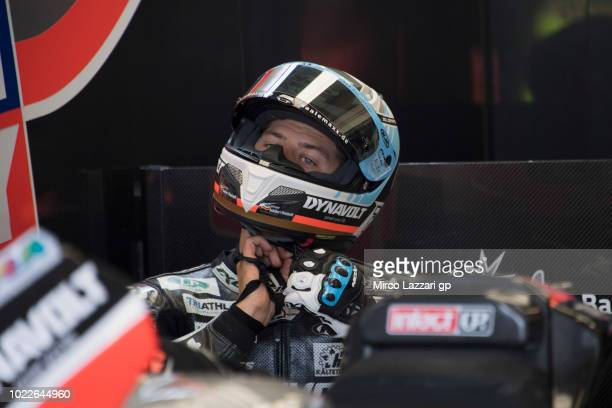 Marcel Schrotter of Germany and Dynavolt Intact GP prepares to start in box during the MotoGp Of Great Britain Free Practice at Silverstone Circuit...