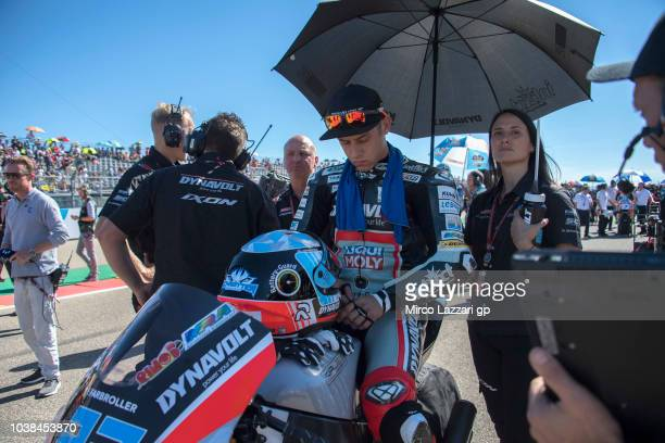 Marcel Schrotter of Germany and Dynavolt Intact GP prepares to start on the grid during the Moto2 race during the MotoGP of Aragon Race at Motorland...