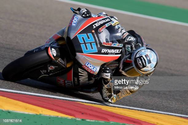 Marcel Schrotter of Germany and Dynavolt Intact GP rounds the bend during the qualifying practice during the MotoGP of Aragon Qualifying at Motorland...