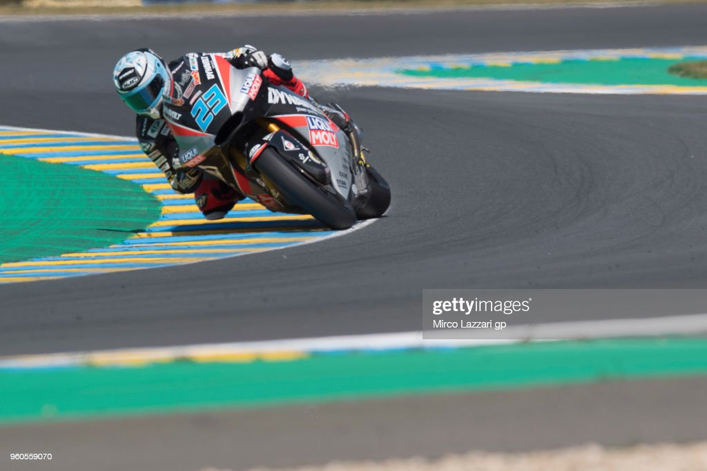 Marcel Schrotter of Germany and Dynavolt Intact GP rounds the bend during the MotoGP race during the MotoGp of France - Race on May 20, 2018 in Le Mans, France.