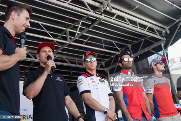 Marcel Schrotter of Germany and Dynavolt Intact GP speaks with fans during the preevent in Herrengasse in Graz during the MotoGp of Austria Previews...