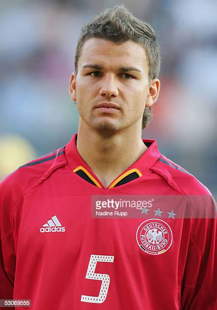 Marcel Schuon of Germany looks on during the national anthem at the FIFA World Youth Championship match between Germany and USA on June 14, 2005 in...