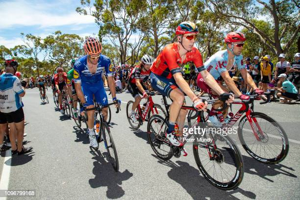 ADELAIDE AUSTRALIA JANUARY 20 Marcel Sieberg of Germany and BahrainMerida Pro Cycling Team leads a group of riders on the Old Willunga Hill climb...