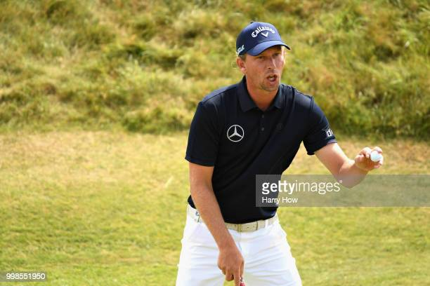 Marcel Siem of Germany celebrates his birdie putt on hole one during day three of the Aberdeen Standard Investments Scottish Open at Gullane Golf...