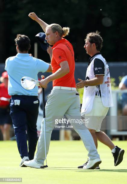 Marcel Siem of Germany celebrates his victory in his third round match against Antoine Rozner of France on day three of the Belgian Knockout at...