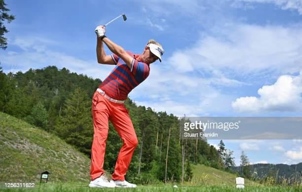 Marcel Siem of Germany hits his tee-shot on the eighth hole during day one of the Euram Bank Open at Golf Club Adamstal on July 15, 2020 in Ramsau,...