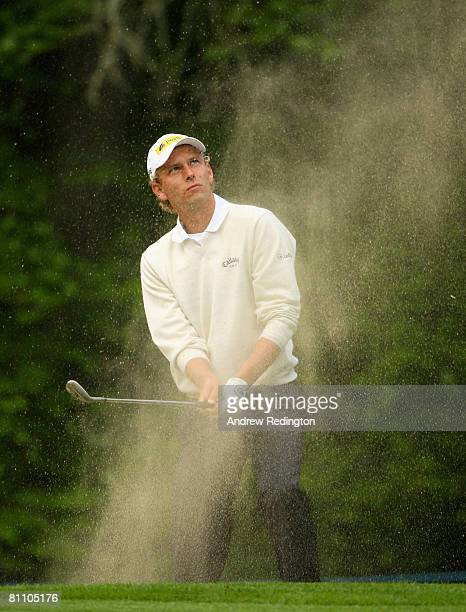 Marcel Siem of Germany plays a bunker shot on the 13th hole during the second round of the Irish Open on May 16 2008 at the Adare Manor Hotel and...