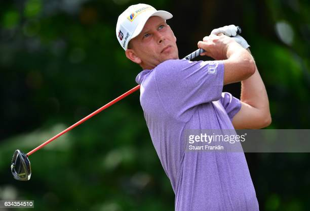 Marcel Siem of Germany plays a shot during Day One of the Maybank Championship Malaysia at Saujana Golf Club on February 9, 2017 in Kuala Lumpur,...