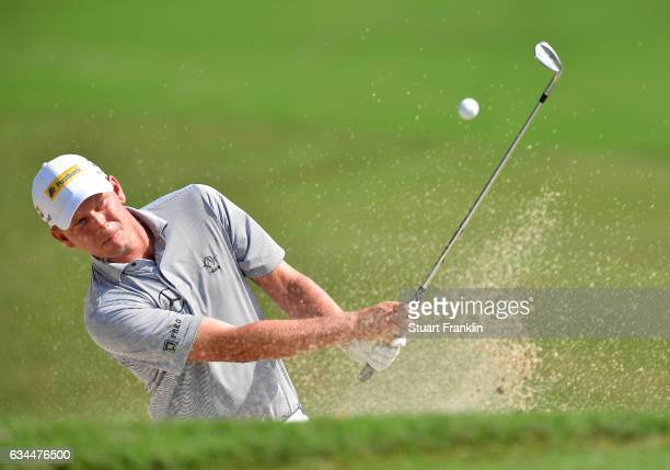 Marcel Siem of Germany plays a shot during Day Two of the Maybank Championship Malaysia at Saujana Golf Club on February 10, 2017 in Kuala Lumpur,...