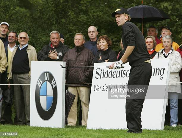 Marcel Siem of Germany plays a shot during the BMW International Open Shoot Out at the Eichenried Golf Club on August 29 2006 in Munich Germany
