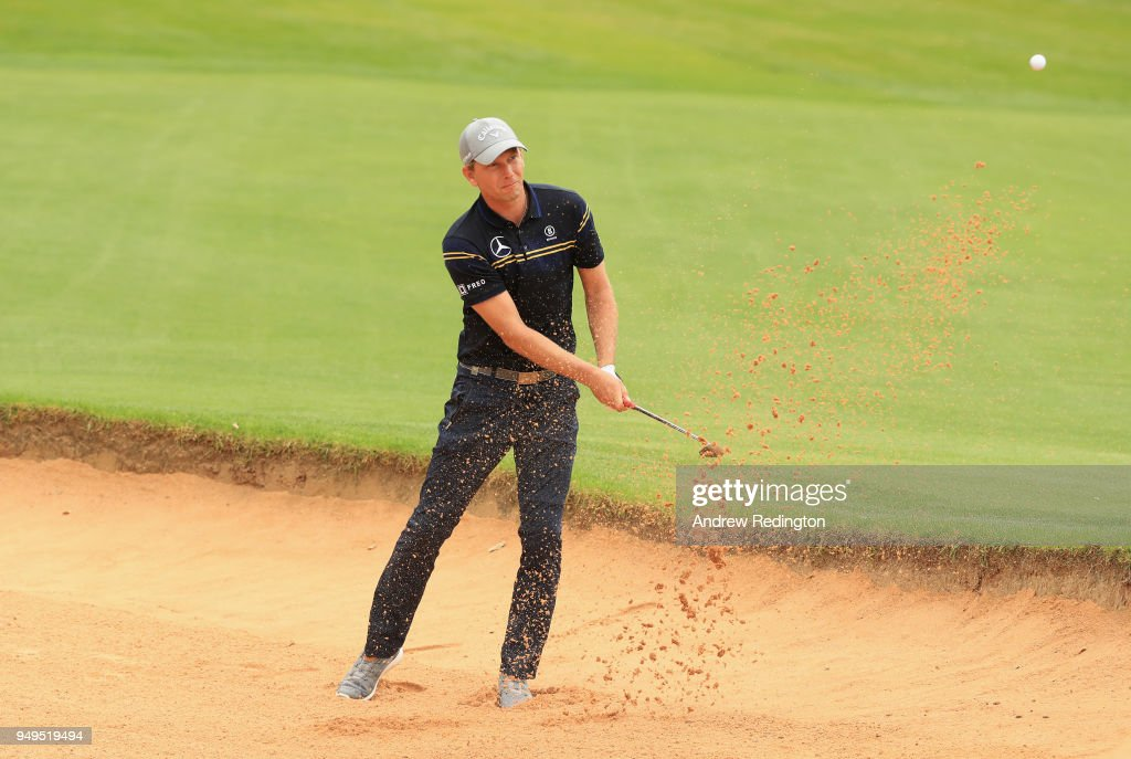 Marcel Siem of Germany plays his second shot on the second hole during the third round of the Trophee Hassan II at Royal Golf Dar Es Salam on April 21, 2018 in Rabat, Morocco.