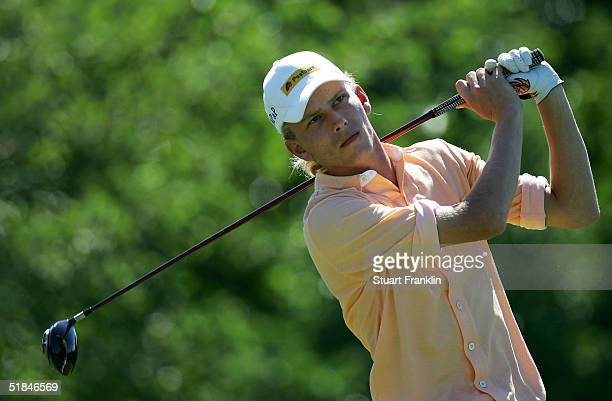 Marcel Siem of Germany plays his tee shot on the 12th hole during the second round of the Dunhill Golf Championships on December 10, 2004 at The...