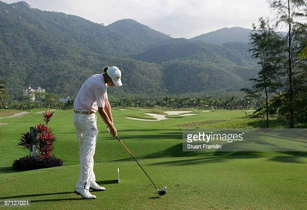 Marcel Siem of Germany plays his tee shot on the second hole during the final round of The TCL Classic at Yalong Bay Golf Club on March 19 2006 in...