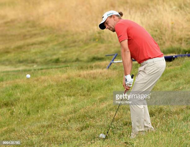 Marcel Siem of Germany plays out of the rough on hole one during day four of the Aberdeen Standard Investments Scottish Open at Gullane Golf Course...