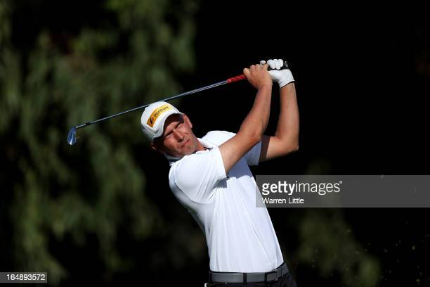 Marcel Siem of Germany tees off on the 12th hole during the second round of the Trophee du Hassan II at Golf du Palais Royal on March 29, 2013 in...