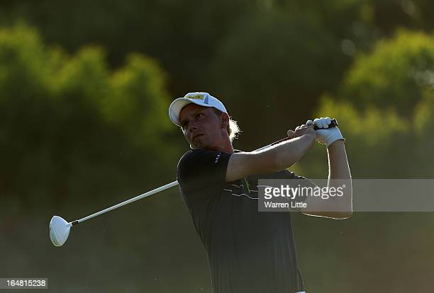 Marcel Siem of Germany tees off on the 18th hole during the first round of the Trophee du Hassan II Golf at Golf du Palais Royal on March 28, 2013 in...