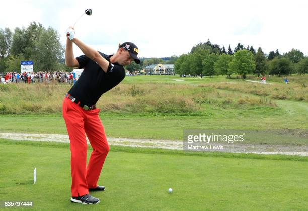 Marcel Siem of Germany tees off on the 9th hole during the final match of the Saltire Energy Paul Lawrie Matchplay at Golf Resort Bad Griesbach on...