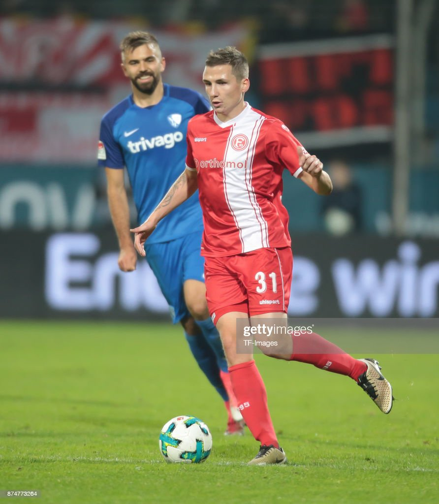 Marcel Sobottka of Duesseldorf controls the ball during the Second Bundesliga match between VfL Bochum 1848 and Fortuna Duesseldorf at Vonovia Ruhrstadion on October 30, 2017 in Bochum, Germany.